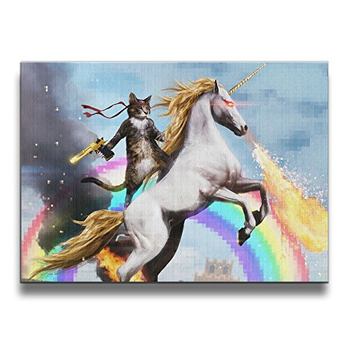 Fire Oil Painting - Cat Riding A Fire-breathing Unicorn Wall Art Oil Painting Giclee Landscape Canvas Prints For Home Decorations