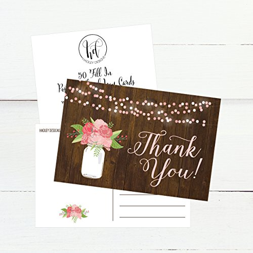 50 4x6 Rustic Floral Thank You Postcards Bulk, Modern Cute Flower Matte Blank Thank You Note Card Stationery For Wedding, Bridesmaid Bridal or Baby Shower, Teachers, Appreciation, Religious, Business Photo #2