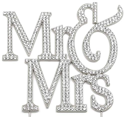Mr and Mrs Cake Topper, Silver Wedding Anniversary Decorations, Crystal Rhinestone Silver ()