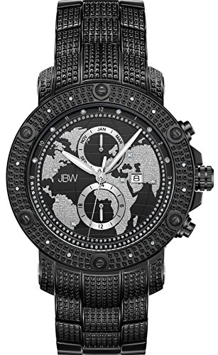 JBW Men's Veyron .18 ctw Diamond Black Ion-Plated Stainless Steel Watch J6360B