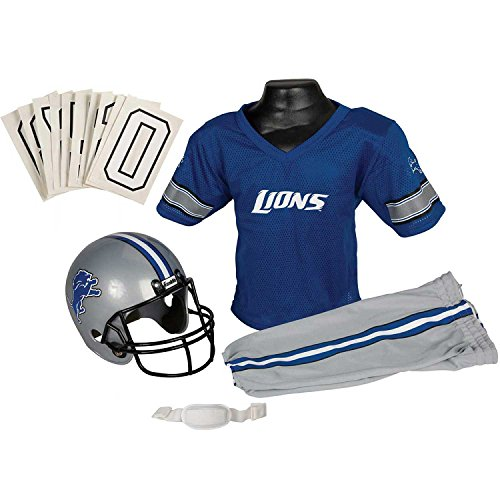 Franklin Sports Deluxe NFL-Style Youth Uniform – NFL Kids Helmet, Jersey, Pants, Chinstrap and Iron on Numbers Included – Football Costume for Boys and Girls ()
