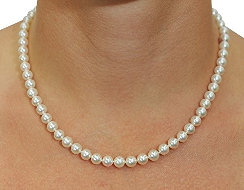 """14K Gold Japanese Akoya White Cultured Pearl Necklace & Earrings Set, 18"""" Length AA+ Quality"""