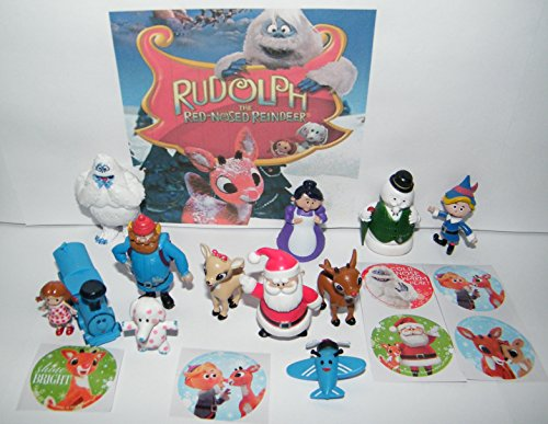 Rudolph the Red Nosed Reindeer Toy Figure Set of 12 with Monster Bumble, the Misfit Toys, Santa and More and a Special Holiday Sticker Sheet!
