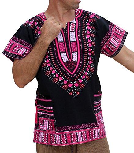 Raan Pah Muang RaanPahMuang Brand Unisex Bright African Black Dashiki Cotton Shirt, X-Large, Pink/Black (Cotton Thai Craft)