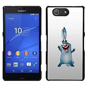 // PHONE CASE GIFT // Duro Estuche protector PC Cáscara Plástico Carcasa Funda Hard Protective Case for Sony Xperia Z3 Compact / Bunny Dog Ears Big Blue Cartoon Drawing Smile /
