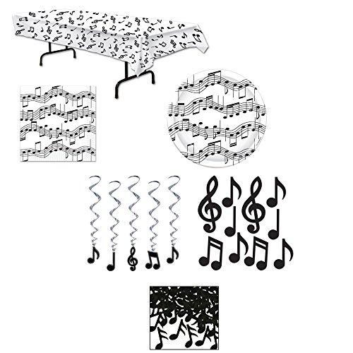 Music Note Super Party Decorations Bundle Tablecover Hanging Swirls Plates Napkins -