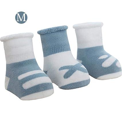 Sue-Supply Calcetines para niños pequeños Calcetines de bebés Antideslizantes Algodón Acolchado Calcetines 0-