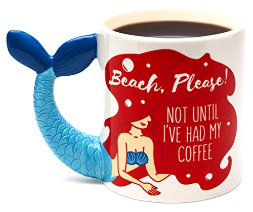 BigMouth Inc. Beach Please! Not Until I've Had My Coffee Mermaid Mug (Cup Mermaid Coffee)