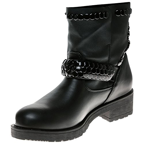 Feet First Fashion Logan Womens Low Heel Studded Biker Style Ankle Boots Black Faux Leather qCpXzI4m6