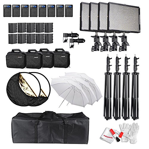 6600 Skin (Aputure Amaran (AL-528W*3 AL-528C) LED Video Studio Lighting Kit with 7.9 Feet Light Stand, 6600mAh Battery Kit, 32
