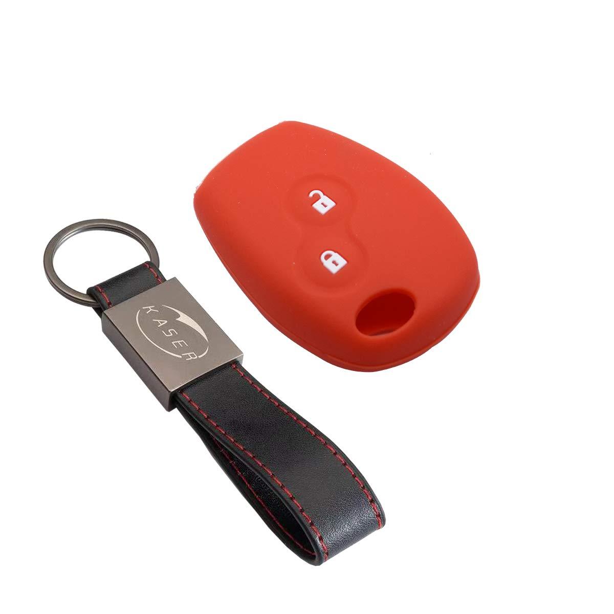 Housse étui en Silicone pour Clé Renault – Coque Cover Porte-Clés pour Renault Clio Kangoo Modus Twingo Laguna Master Megane Protection Télécommande Voiture (Orange)