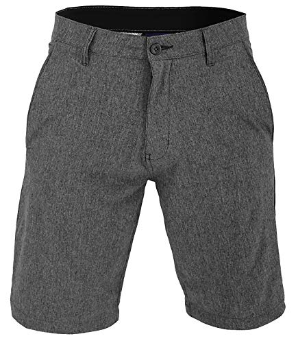 Mens 22 Inch Shorts Charcoal - VBRANDED Men's Walker Quick Dry Microfiber Swim Shorts Large Charcoal Black