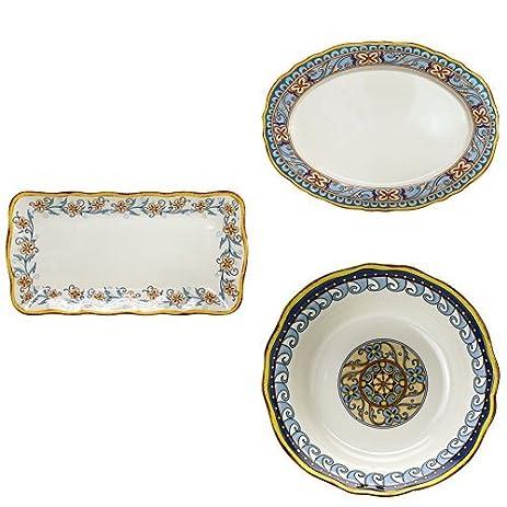 Euro Ceramica Duomo Dinnerware Jumbo Serving Bundle \u2013 1 Piece Rectangular Platter + 1 Piece Oval  sc 1 st  Amazon.com & Amazon.com | Euro Ceramica Duomo Dinnerware Jumbo Serving Bundle - 1 ...