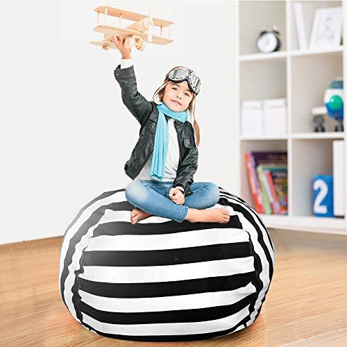 Black Plush Bean Bag - TOUCH-RICH Stuffed Animal Storage Bean Bag Chair 38