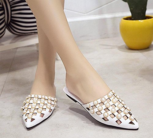mujeres Baotou sandalias y salvajes zapatillas huecas de punta white perlas Ranurado sandalias femenina de las mitad zapatillas planas de XORABw