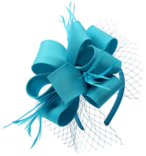 Fascinators for Women Tea Party Satin Feather Mesh Wedding Headband Kentucky Derby Headpieces(Blue)