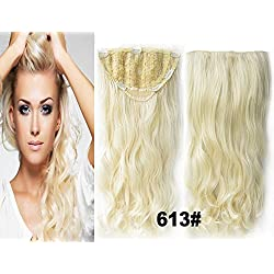 Beauty Wig World 23Inch 130gr Long Curly Synthetic 3/4 Head Kanekalon Futura Heat Resistance Hair Extensions Clip on in Hairpieces Color(613#Platinum Blonde) by clip in hairpieces