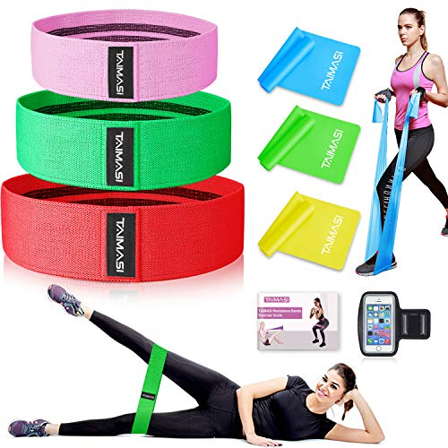 8PCS Resistance Bands Set for Legs and Butt, Exercise Workout Bands Fabric Booty Bands & Long Latex Exercise Bands for Women, Perfect for Squats, Strength Training, Yoga, Include Guide Book & Armband