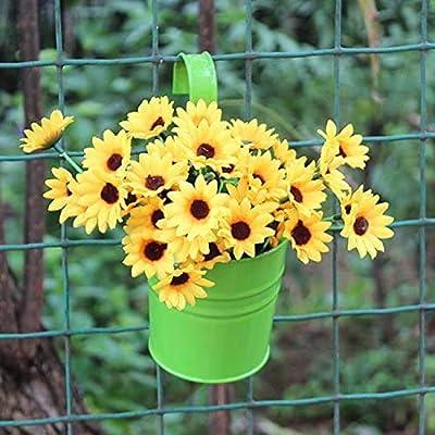 1//3pcs Metal Bucket Flower Hanging Pot Balcony Garden Pots Plant Flower Holders