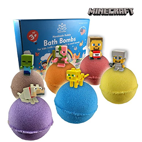 Organic Handmade Bath Bombs with MINECRAFT TOYS INSIDE for Kids – Natural and Safe Bombs with Essential Oils – with Toys Inside – Great Gift Set for Boys and Girls – 6 x 5 OZ by Relaxcation