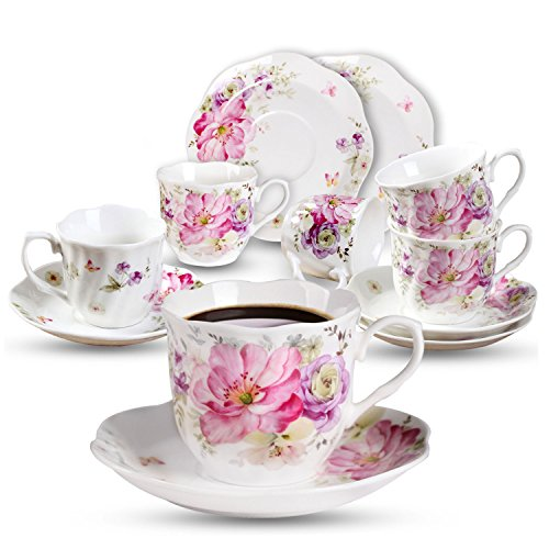 Cups Saucers Safe Oven (7OZ Coffee Cups and Saucers Set - 6 PCS 220 ML Tea Cup Sets with Flower Painting Pattern New Bone China Porcelain Cups for Mocha Cappuccino)