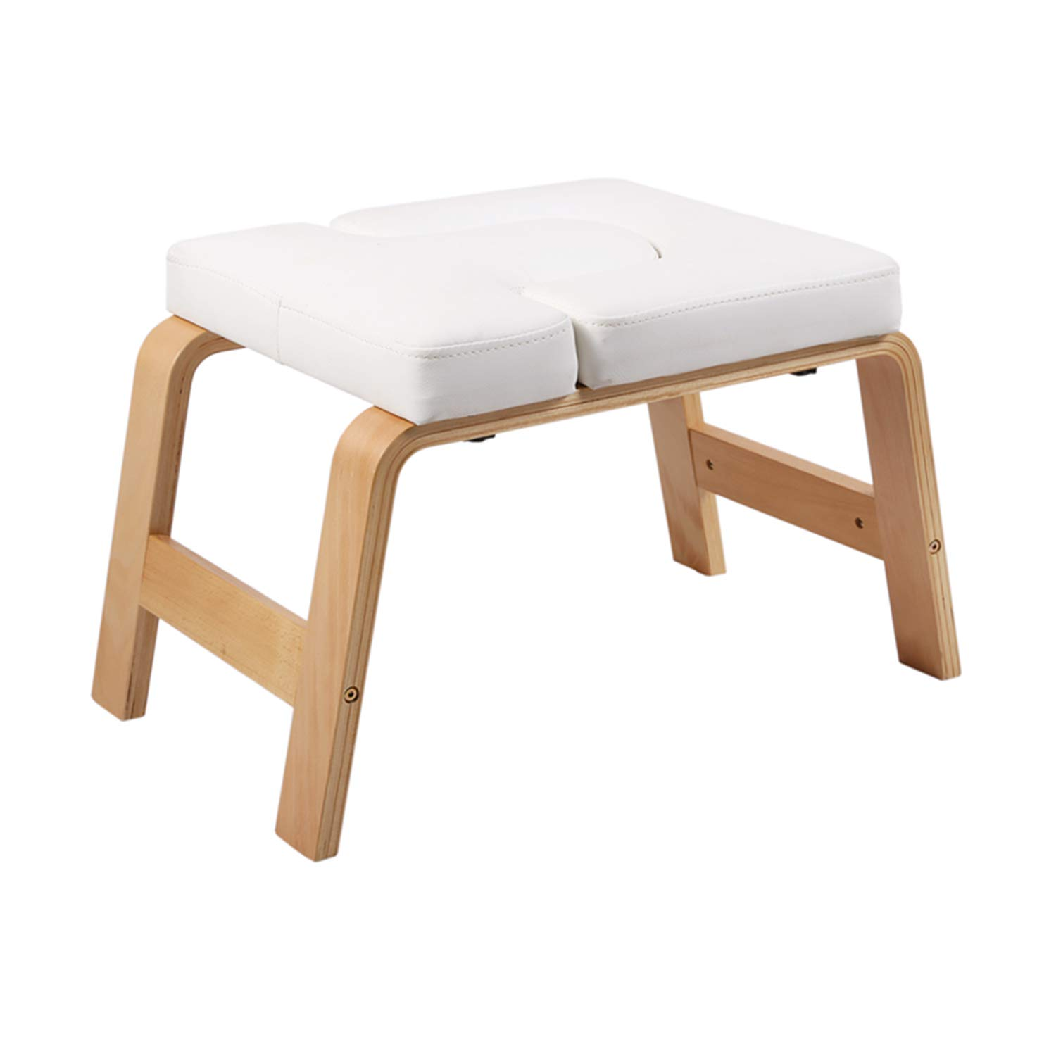 Desire Life Yoga Headstand Bench - Stand Yoga Chair for Family, Gym - Wood and PU Pads - Relieve Fatigue and Build Up Body (White) by Desire Life (Image #2)