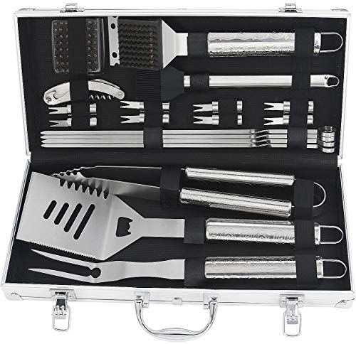 POLIGO 20pcs Barbecue Grill Utensils Kit Stainless Steel BBQ Grill Tools Set - Premium Camping Grill Accessories in Aluminum Case for Men - Ideal Outdoor Grilling Set for Father's Day Birthday Gifts ()