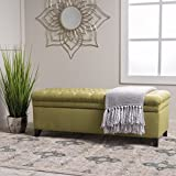 Living Room Furniture Laguna Living Room Furniture~ Tufted Fabric Storage Ottoman (Green)