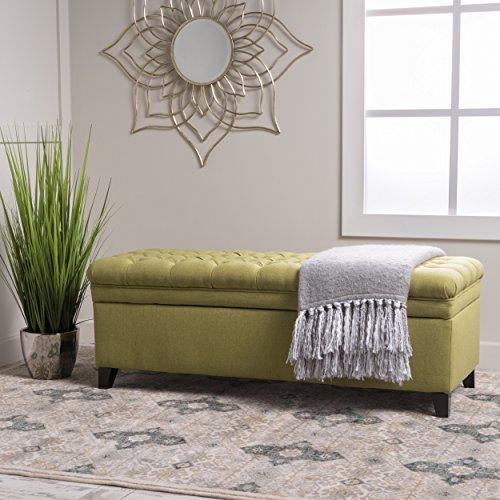 Laguna Living Room Furniture~ Tufted Fabric Storage Ottoman (Green)