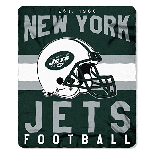Nfl Fleece Football Blanket Team (The Northwest Company NFL New York Jets Singular 50-inch by 60-inch Printed Fleece Throw)