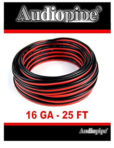 25' Ft. 16 GA Gauge Red Black Stranded 2 Conductor Speaker Wire Car Home Audio - 2 Conductor Audio