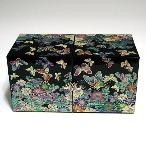 Antique Black Lacquer - Mother of Pearl Black Butterfly and Flower Design Wooden Twin Cubic Jewelry Trinket Keepsake Treasure Lacquer Box Case Chest Organizer