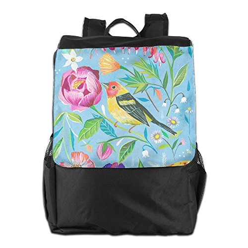 Backpack With Dayback Adjustable Men And Storage Strap Shoulder For Bird Personalized Outdoors Flowers Women HSVCUY School Camping Travel BE0O1w