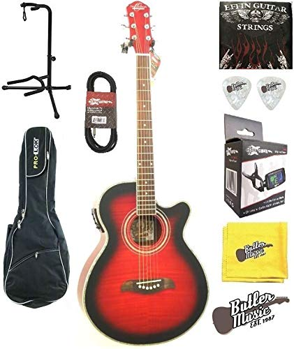 Oscar Schmidt og10ceftr llama Trans rojo a/E Guitarra w/bolsa de ...