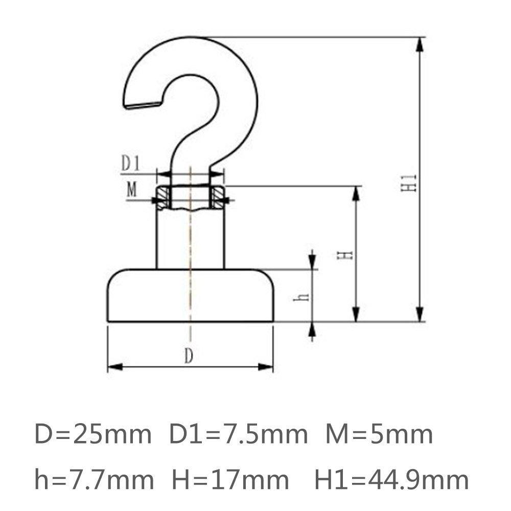 iRoundy 4 Stück Mini Super Starker Magnethaken für Tasche Reinigungstuch Schlüssel Handtücher Halter, 25 mm-holds bis 22 kg - Kraftvolle Neodym Magnet Halterung Haken, für Küche Badezimmer