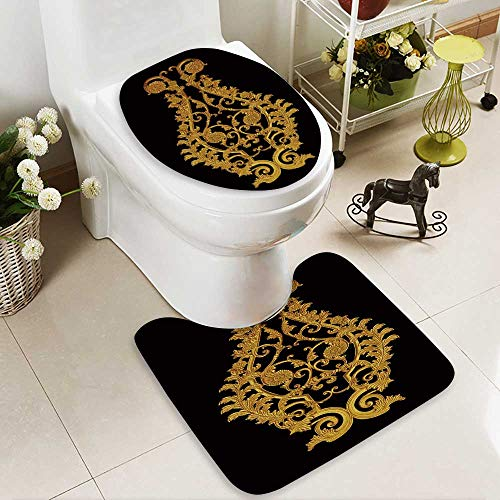 Analisahome Soft Toilet Rug 2 Pieces Set ornament of gold plated vintage floral victorian style Machine-Washable