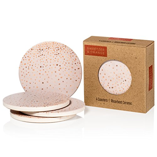(Set of 4 Ceramic Coasters | 4 inches in diameter | Water Absorbent! | Cork Bottom | Add Style to Your Dining Room or Living Room! | Pink Champagne)