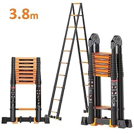 7.6m Teleskopleiter Auszeihleiter U/® aus Hochwertigem Aluminium Leiter Aluleiter Mehrzweckleiter 7.6 3.8 + 3.8