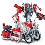 Siyushop Heroes Rescue Bots,5-in-1 Robot Model,Motorcycle, Fire Truck, Big Crane, Excavator, Ambulance, Combat Robot Model,Children's Deformation Toy (Color : Motorcycle)