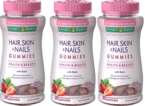 Nature's Bounty Optimal Solutions Hair, Skin, Nails, 80 Gummies (Pack of 3)
