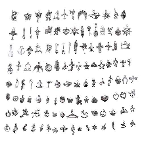 HYBEADS Silver Pewter Charms Pendants Mega Mix DIY for Jewelry Making and Crafting 100-Piece]()