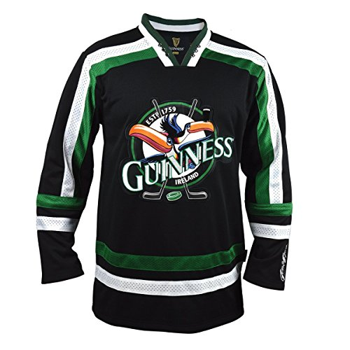 Guinness Toucan Hockey Jersey, Small - Black and Green Athletic Shirt
