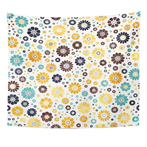 (Emvency Wall Tapestry Colorful Aster Yellow Mustard Dark Blue Azure Chocolate Spot Flower on White Mid Century Mod Abstract Floral Geometric Decor Wall Hanging Picnic Bedsheet Blanket 60x50 Inches)