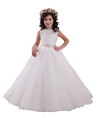 Flowerry Girls Lace Princess Flower Girl Dresses Wedding Party Junior Bridesmaid Dress 14T Ivory