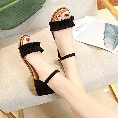 YOUJIA Women Summer Beach Shoes Bohemia Sandals Ankle-wrap Ruffles Peep Toe Flip-Flop Flats Slippers Black 5zZJVdb5L