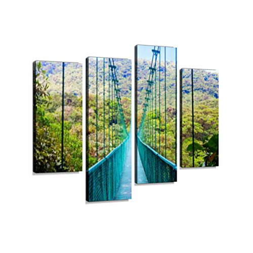 (Suspension Bridge in rain Forest, Costa Rica Canvas Wall Art Hanging Paintings Modern Artwork Abstract Picture Prints Home Decoration Gift Unique Designed Framed 4 Panel)