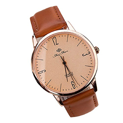 Sandistore Fashion Ultra-thin Man Women Casual Wrist Watch Leather Quartz Watch Light Brown