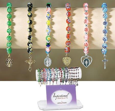 1pc Flower Bead Rosary Bracelet Display