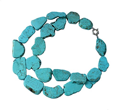 Fashion 2 Row Exaggeration Irregular Simulated Turquoise Necklace Statement for Women