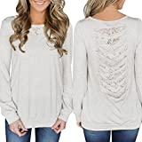 Blouse For Women-Clearance Sale, Farjing Women's Solid Hollow Back Lace Insert Stitching Long Sleeve Pullover Tops Blouse(US:10/XL,White )